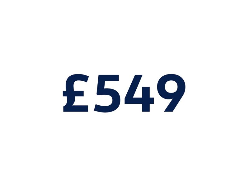 £549 on a white background