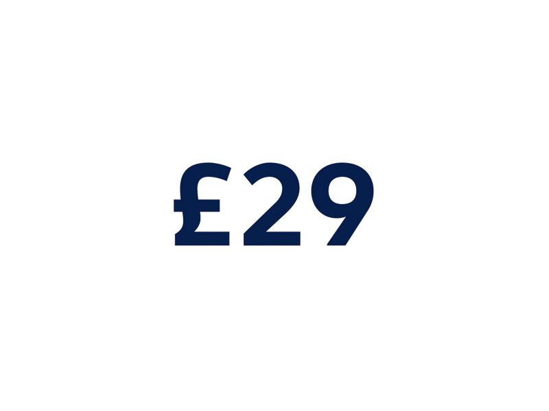 £29 on a white background