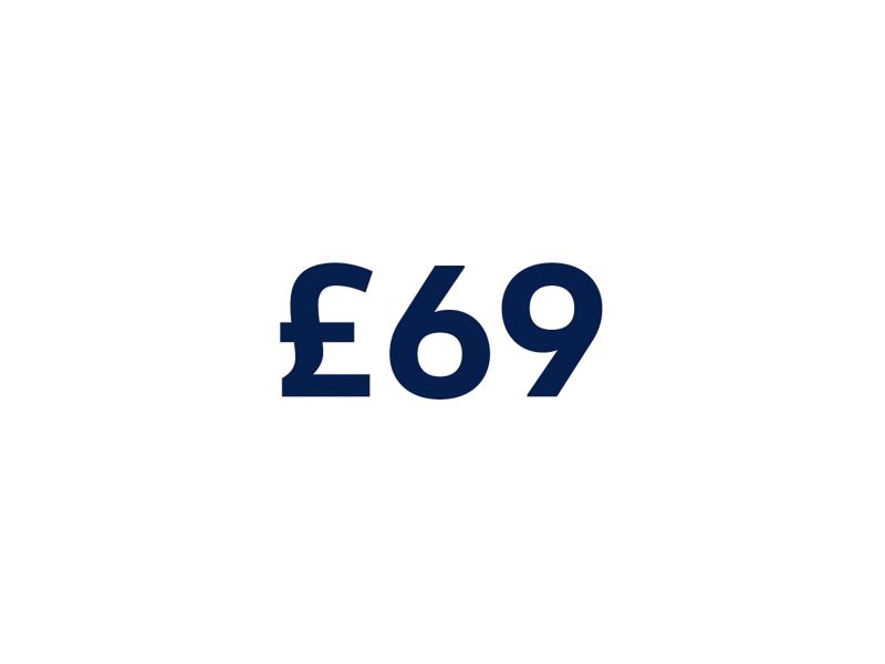 £69 on a white background