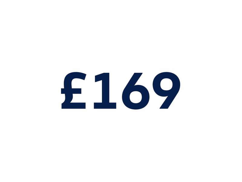 £169 on a white background