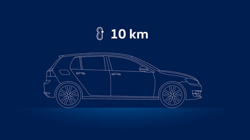Illustration of a VW car and the advice to drive ten kilometres: checking the oil level