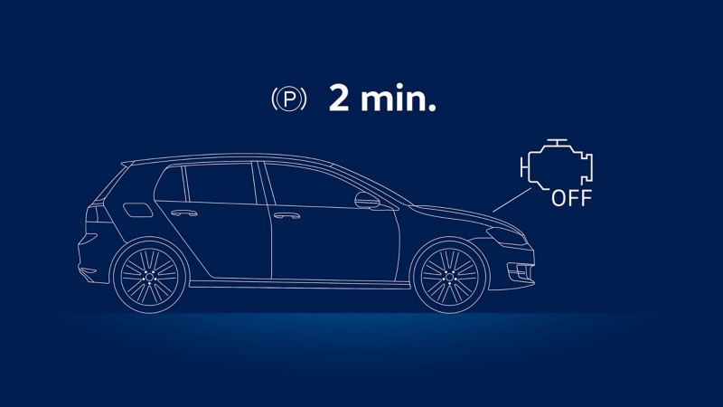 Illustration of a VW car and the advice to switch off the engine: checking the oil level