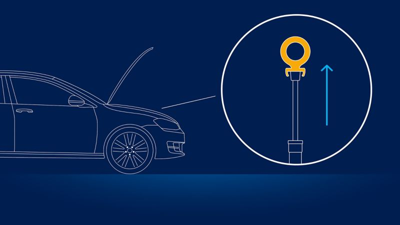 Illustration of a VW car with open bonnet and the advice to remove the oil dipstick: checking the oil level