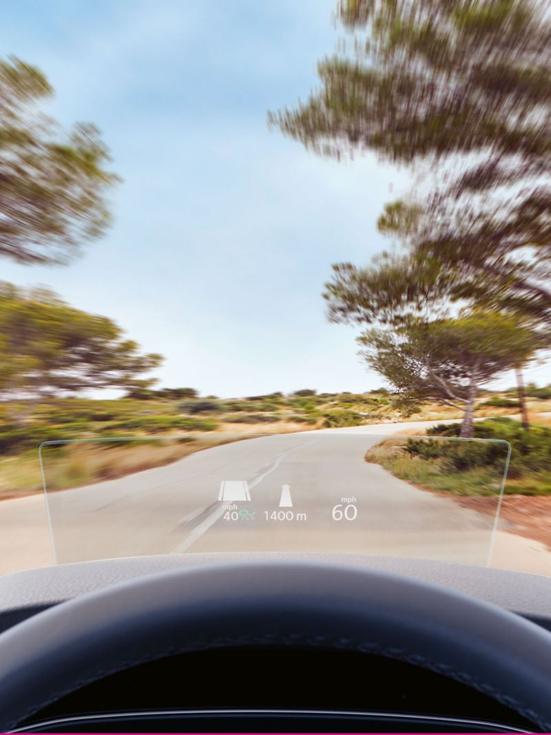 Smart windscreen of a Volkswagen, in the open countryside.