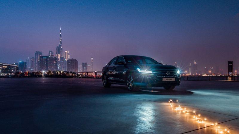 VW Passat exterior at night
