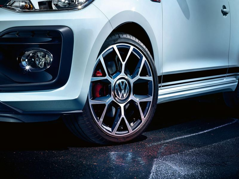 Alloy wheel shot of a Volkswagen up!