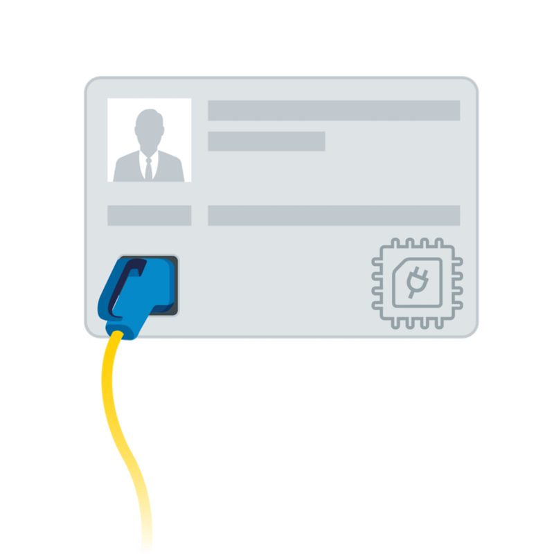 Charge card with an attached charging cable