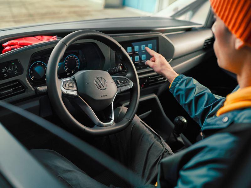 Het interieur van de nieuwe Volkswagen Caddy Cargo.