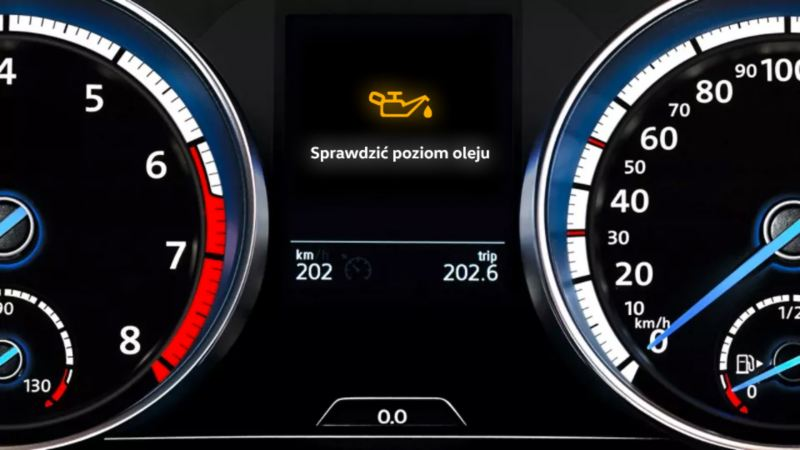 Yellow VW warning light: Engine oil level too low or engine oil level faulty