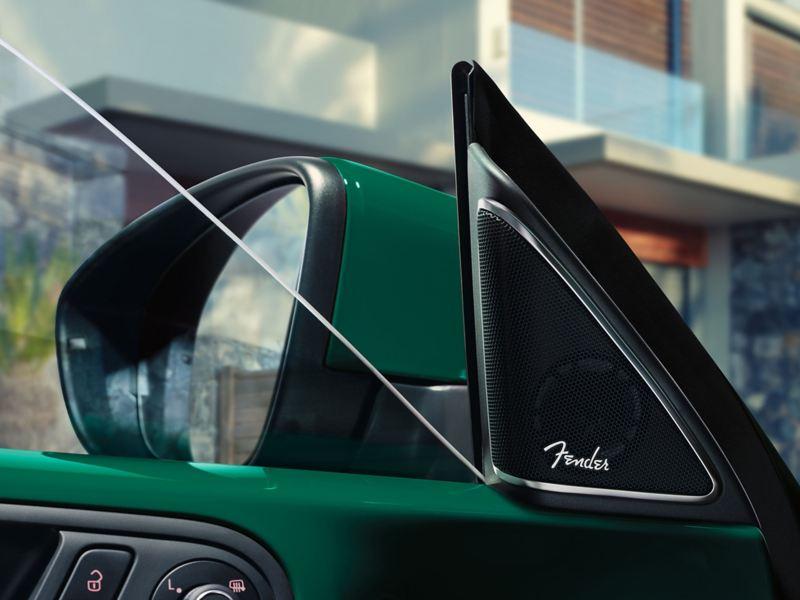 The fender logo in a car