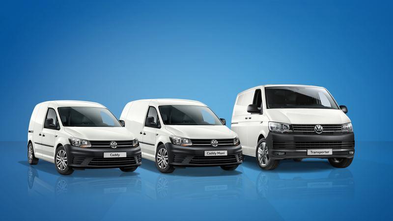 Volkswagen Caddy, Caddy Maxi ja Transporter kuvattuna edestäpäin.
