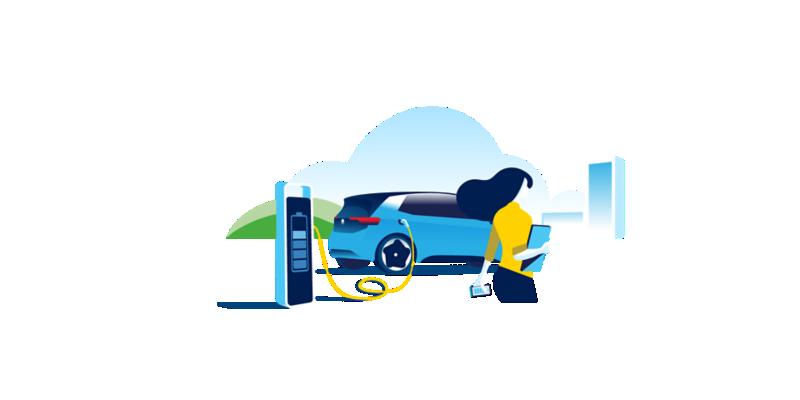 Illustration einer Schnellladestation mit E-Fahrzeug