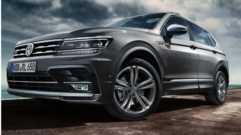 Tiguan Allspace driving on a mountain road