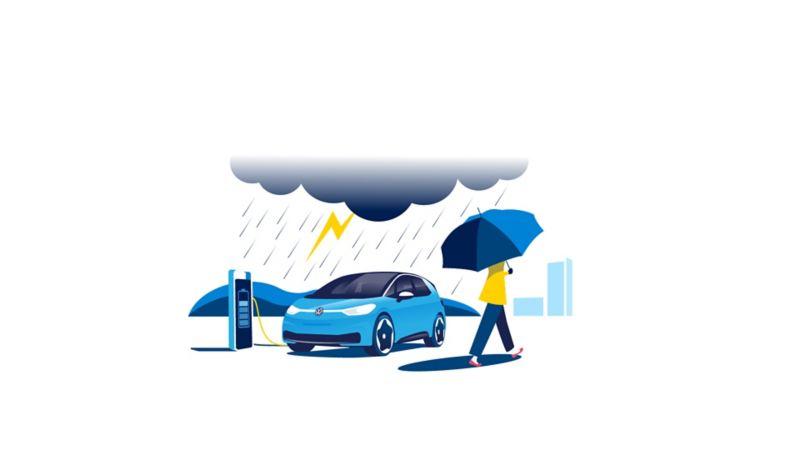 Volkswagen VW ID.3 lader i regnvær