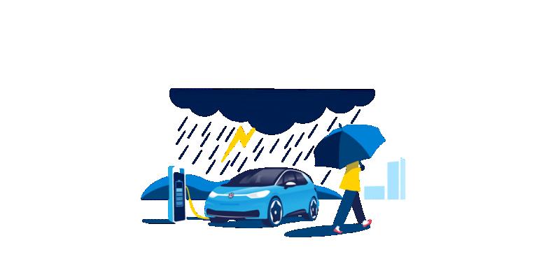 Elektrofahrzeug unter einem Schutzschild bei Gewitter