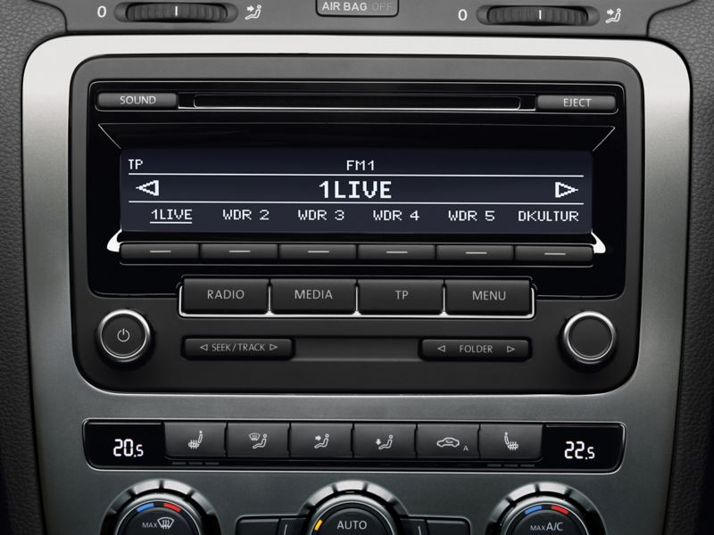In car radio being used