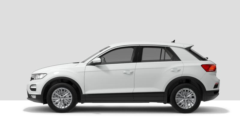 Volkswagen T-Roc blanco sobre fondo gris claro