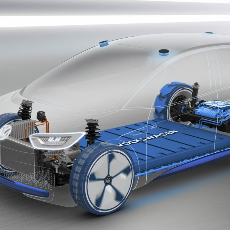 Kuva Volkswagenin MEB-modulaarisesta rakenteesta, joka toimii erilaisten Volkswagen autojen perustana