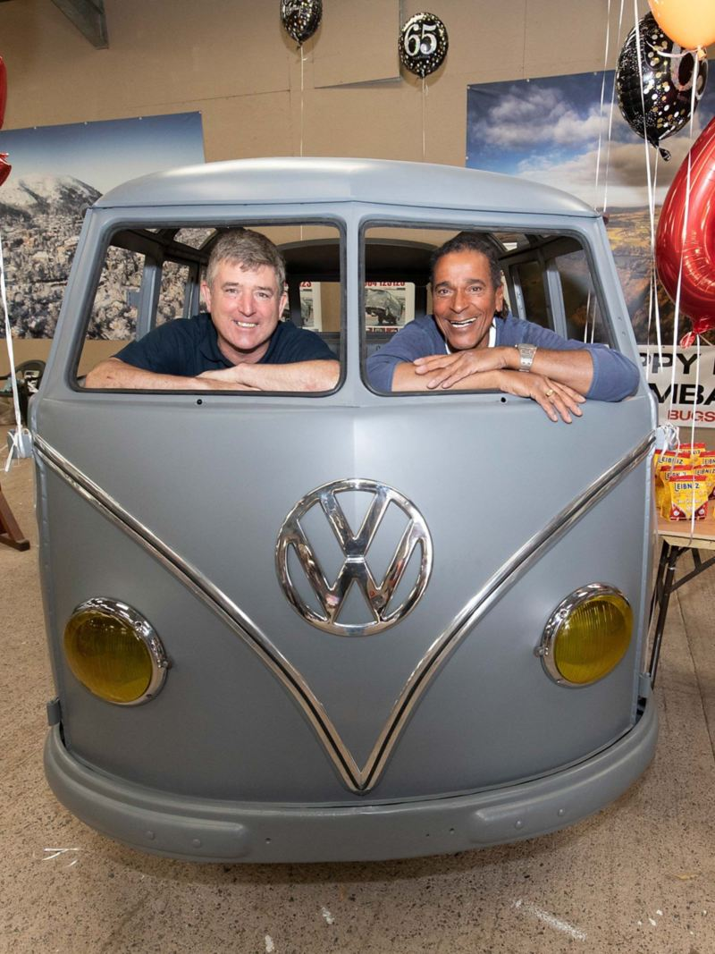 VW Samba T1 bus with owners