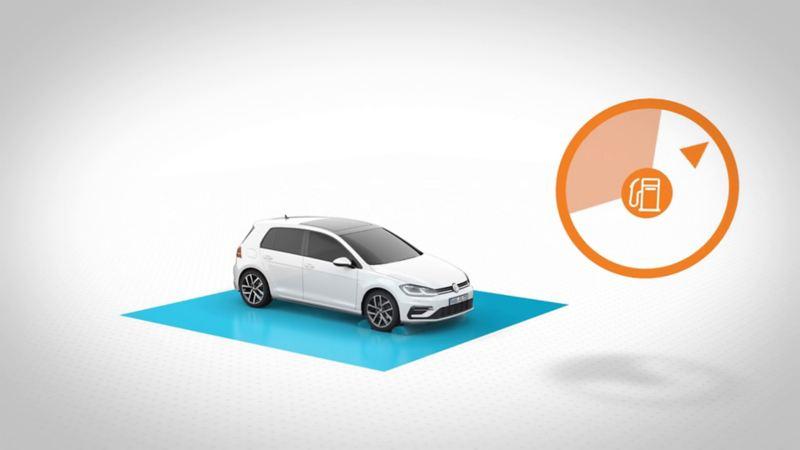 Volkswagen står på en blå platta och bredvid syns symbol för bränsleförbrukning