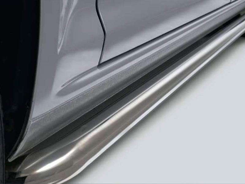 side rails in polished stainless steel
