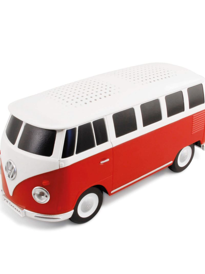 Red and white bluetooth speaker in the shaped of a Volkswagen T1 Bus