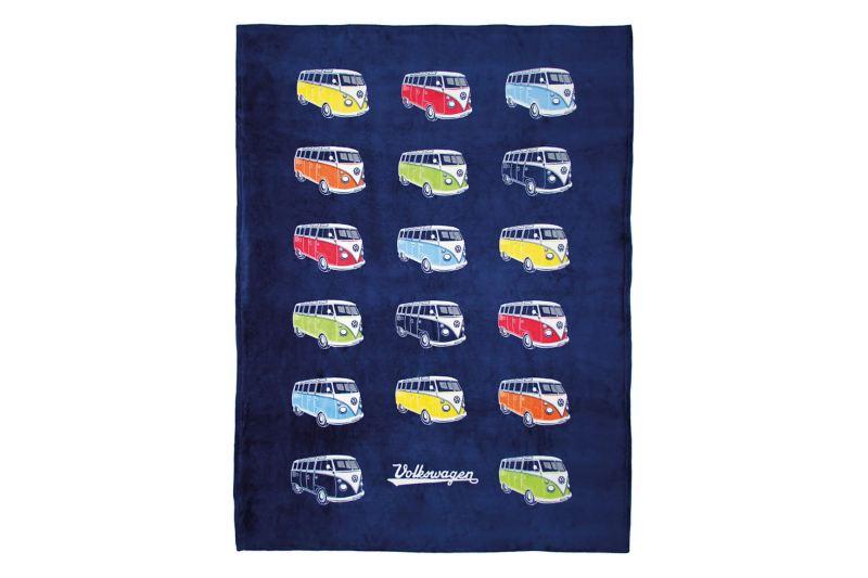 T1 fleece blanket - VW campervans on dark blue blanket