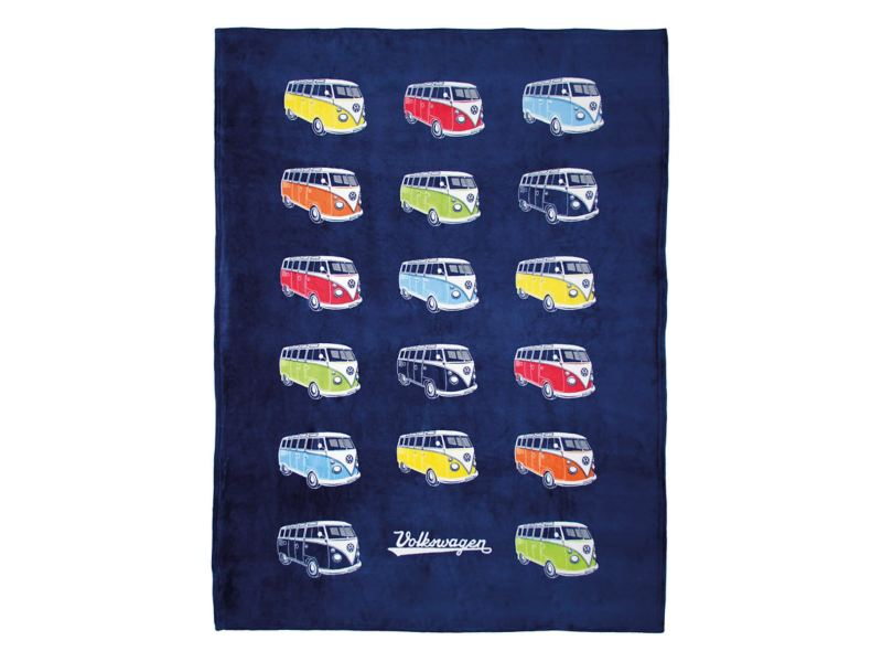 T1 fleece blanket - VW campervans on dark blue blanket