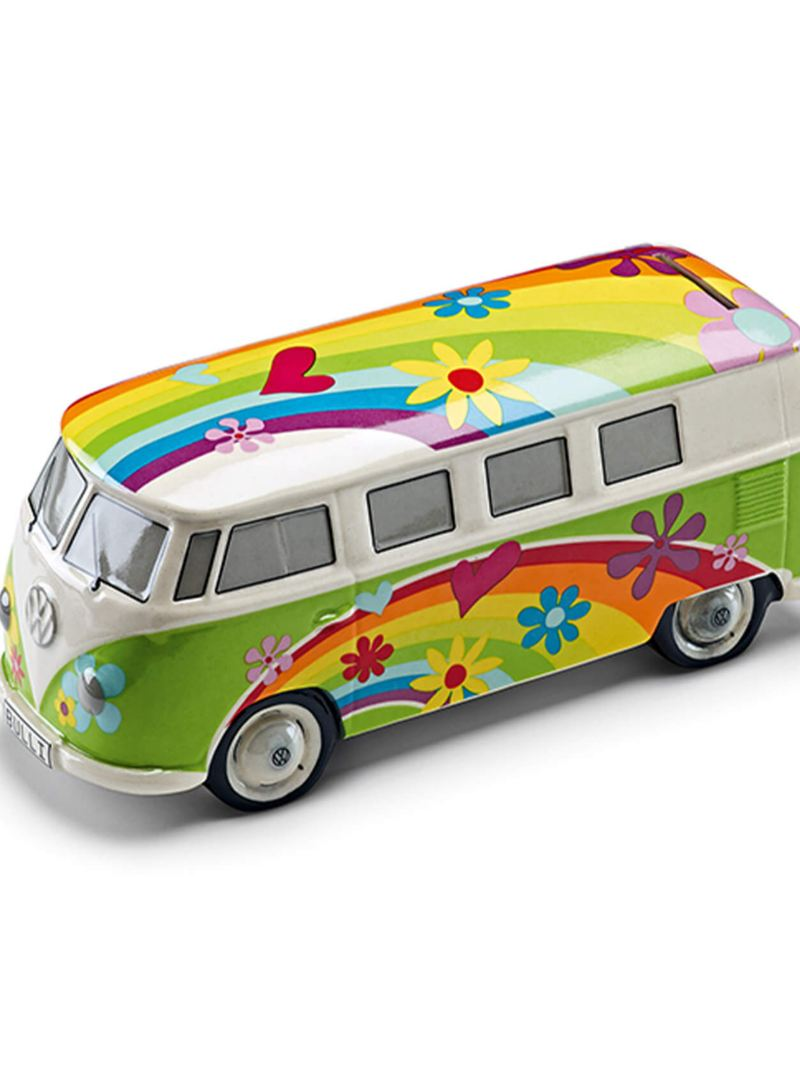 Brightly-coloured ceramic money box in shape of Volkswagen T1 Bus