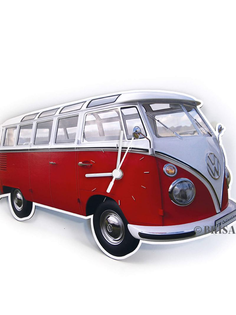 Wall clock shaped like Volkswagen T1 Bus in red and white