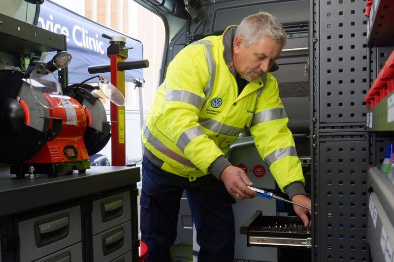 Mobile service van technician