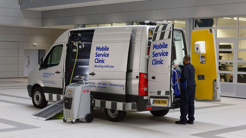 Exterior view of the VW mobile service van