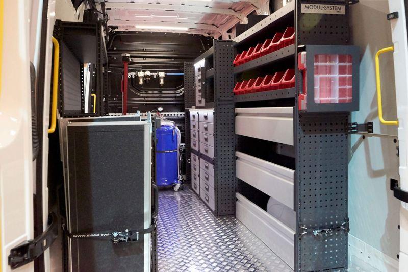 interior of the VW mobile service van