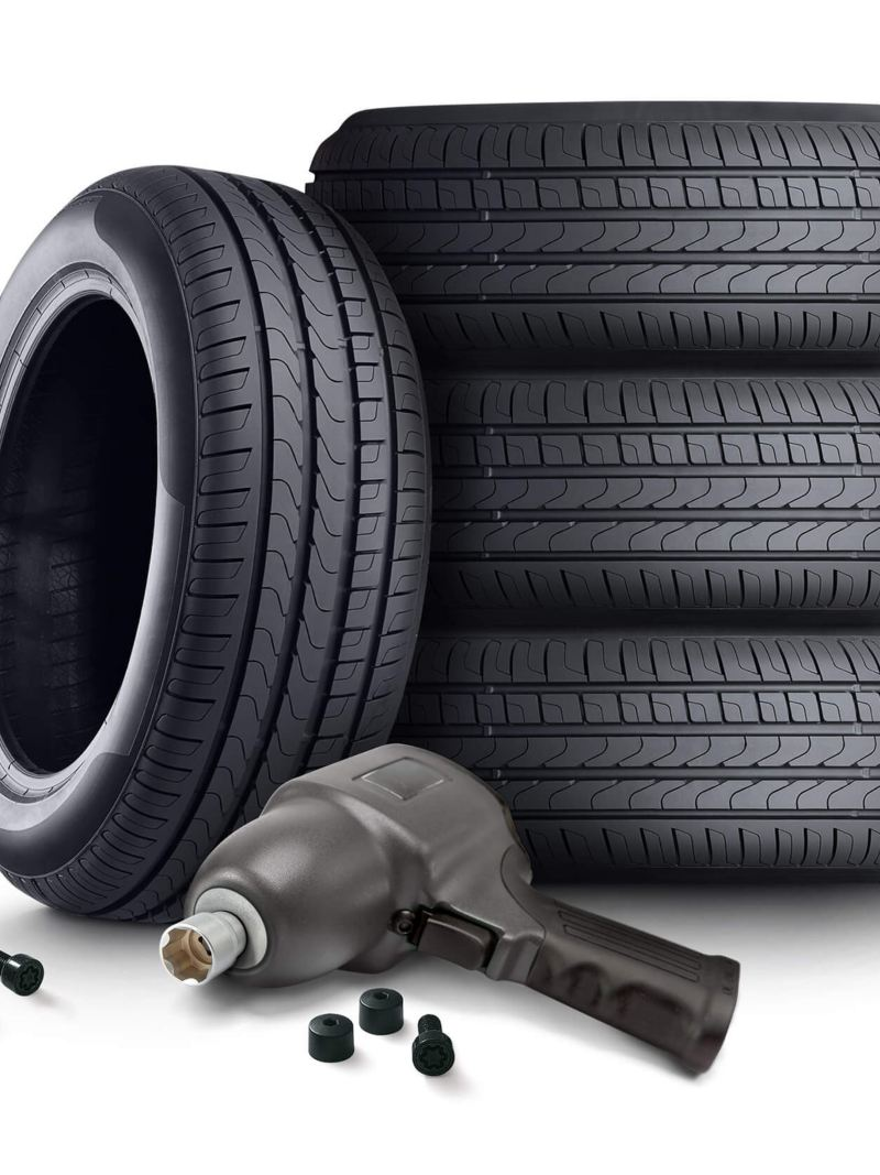 Stacked winter tyres with fitting drill
