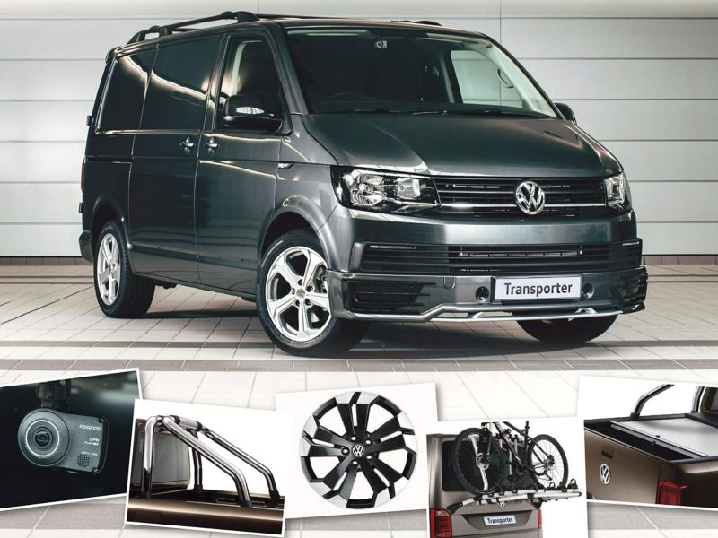 Dark green VW Transporter van with range of accessories