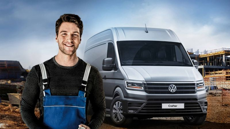 Engineer in front of a Crafter van