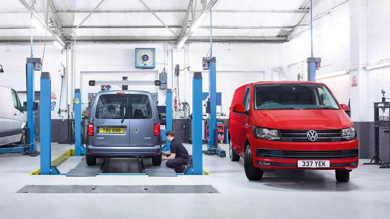 van being checked in a repair centre