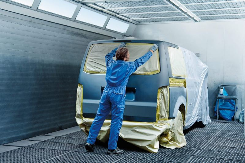 VW Transporter van being masked for painting