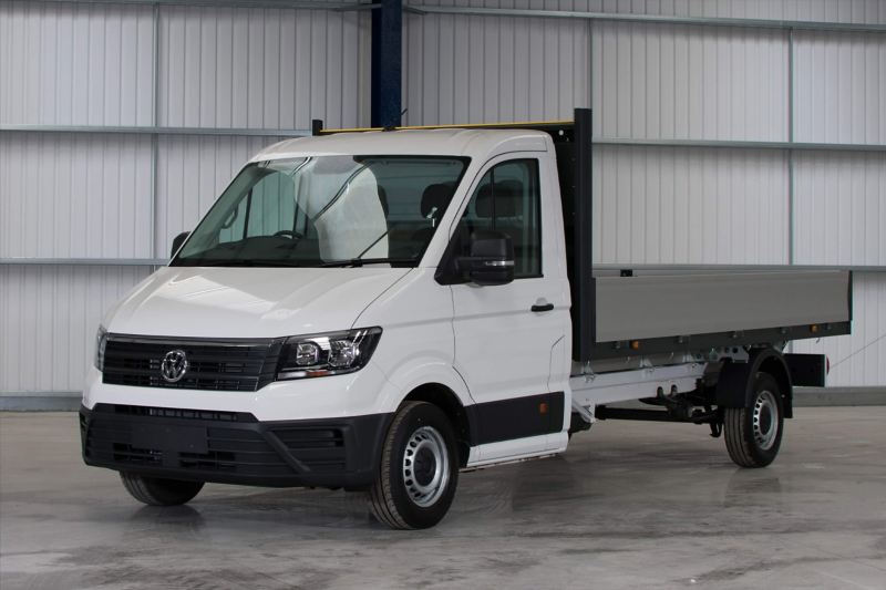 VW Crafter dropside front in warehouse