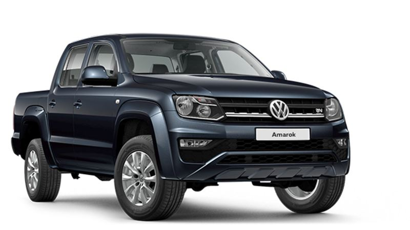 Dark blue VW Amarok pickup front view