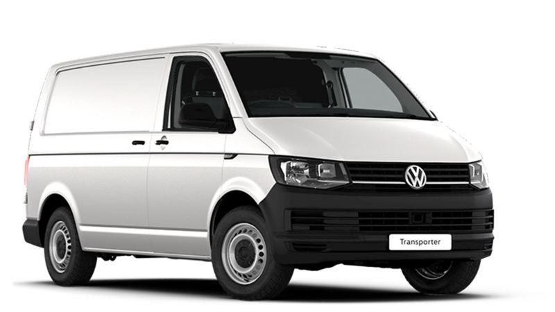 White VW Transporter panel van front view