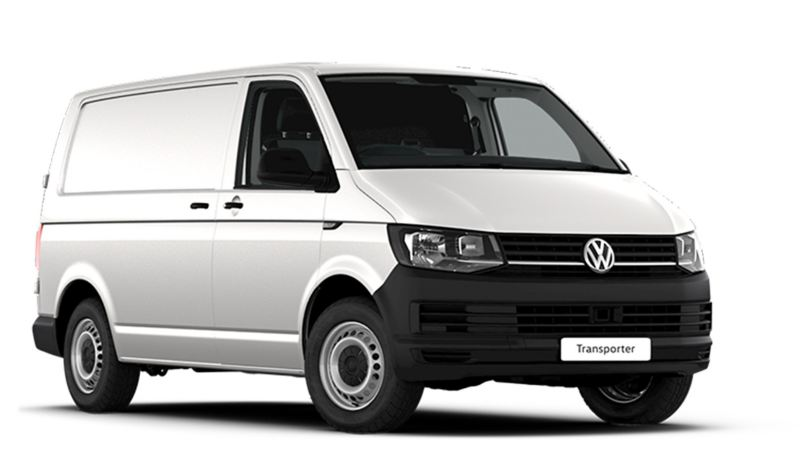 White VW Transporter panel van front view