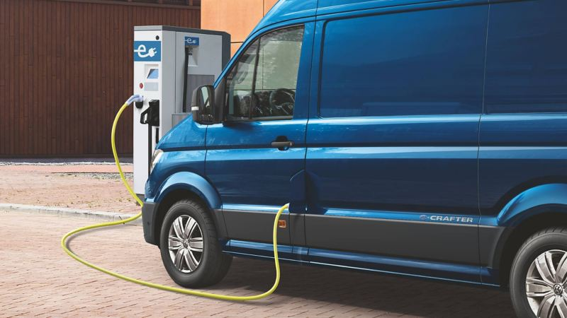 The e crafter electric van connected to a charging point