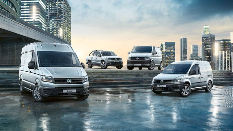 Four VW vans on steps with city background
