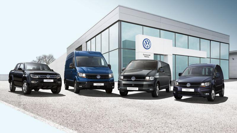 Range of VW vans outside VW Van Centre
