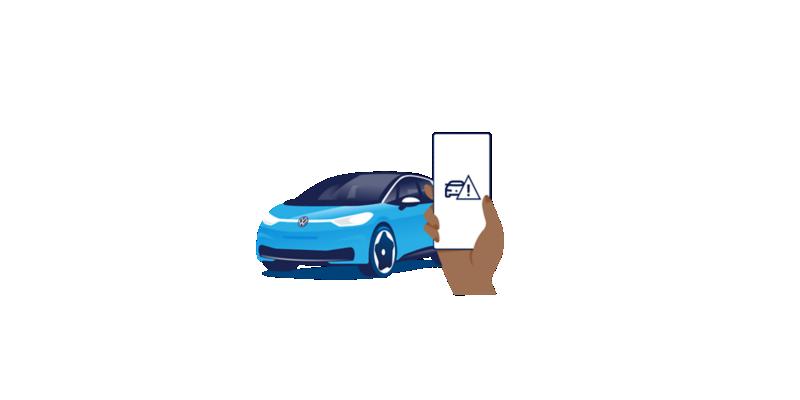 Illustration eines Smartphone, welches das Logo der Pannenhilfe zeigt, die gerade angerufen wird