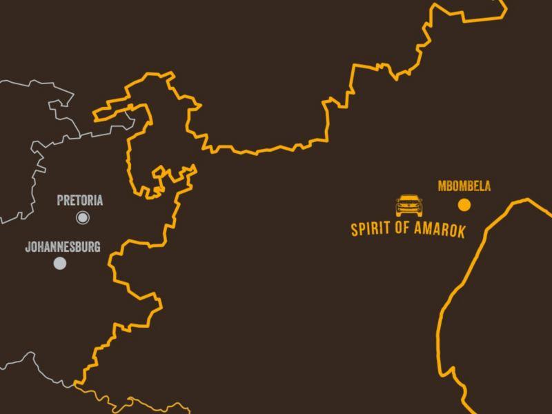 Eine illustrierte Karte Südafrikas zeigt, wo der Spirit of Amarok stattfindet.