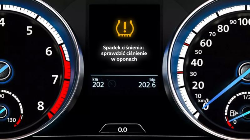 Yellow VW warning lamp: tyre pressure too low or Tyre Pressure Loss Indicator faulty