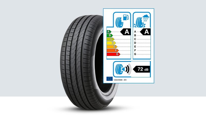 A Volkswagen Genuine tyre with the EU tyre label