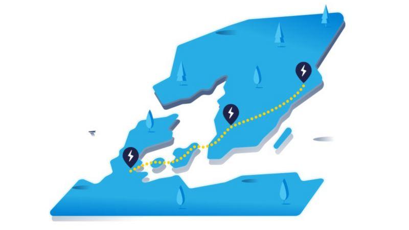 Landkarte mit langer Route und Ladestationen auf dem Weg